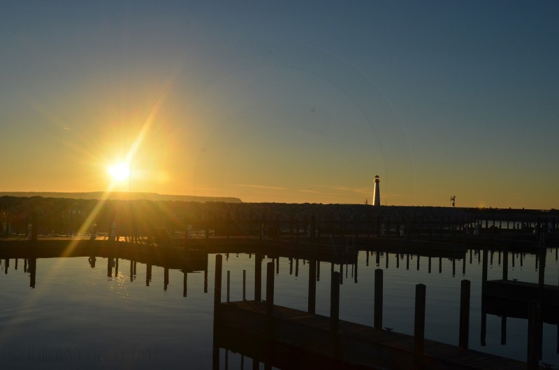 Sunrise over Lake Huron in St. Ignace, Michigan