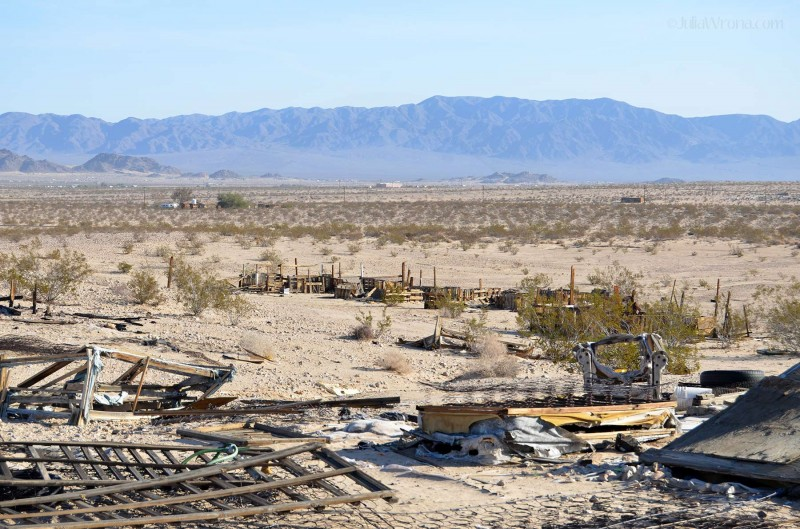 Collapsed buildings in the Mojave Desert