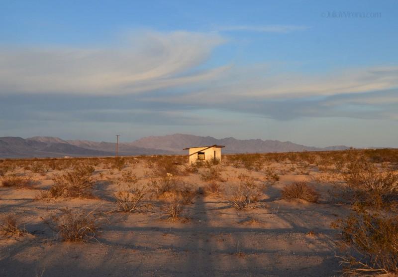 Wonder Valley shack at sunset