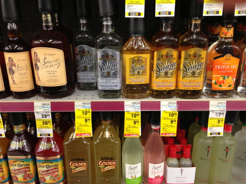 Booze Service Isle at the pharmacy, CVS, Terre Haute, Indiana.