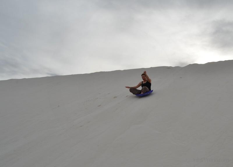 Sledding in White Sands National Park