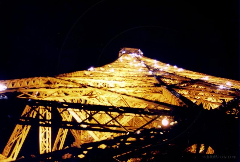 Eiffel Tower twinkling at night