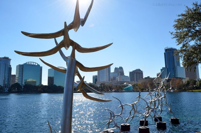 "Bird ""Take Flight"" sculpture by Douwe Blumberg in Lake Eola Park in Orlando, Florida"