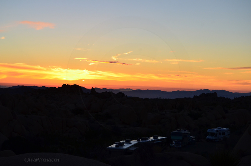 Sunrise over the campground in Joshua Tree National Park