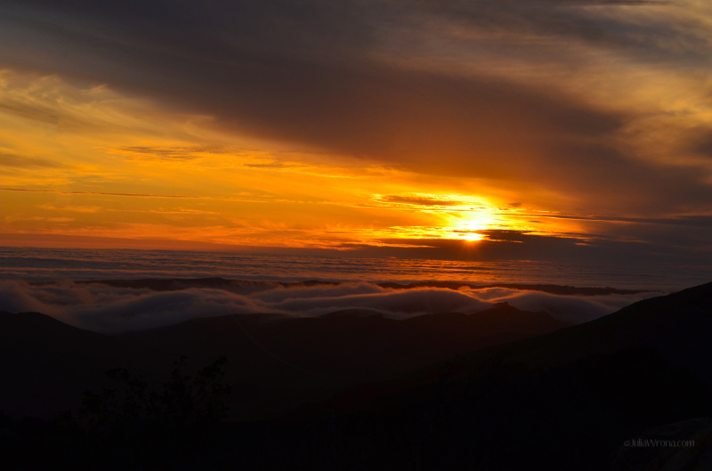 Sunset covered in fog over the valley Central Coast, California