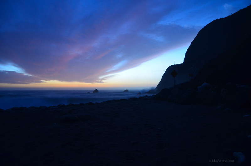 Very end of Sunset over Pacific Big Sur, California