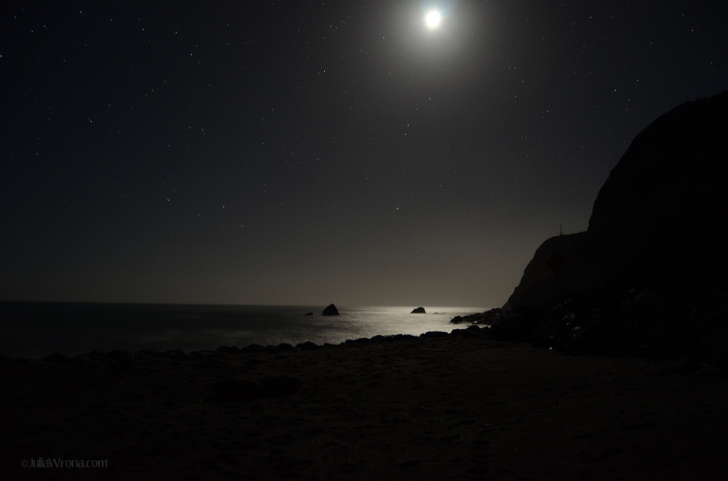 Moonrise over the Pacific from Big Sur, California