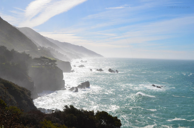 Rocky pacific coast in California in the morning from Big Sur
