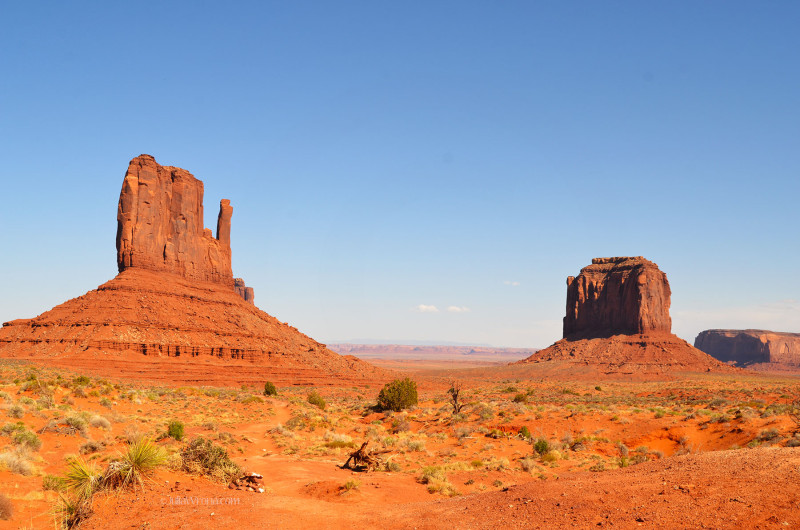 Wide shot of The Mittens Monument Valley, Utah
