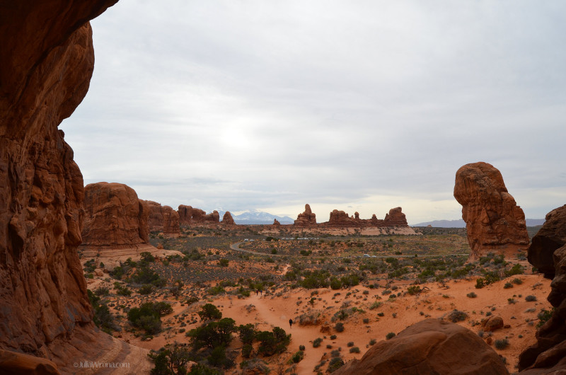 Wide shot of Arches National Park, Utah