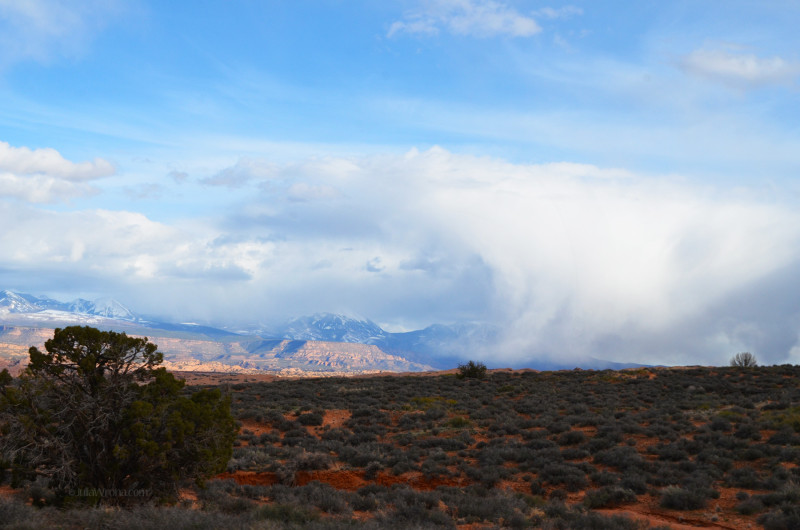Snow storm over the La Sal Mountains