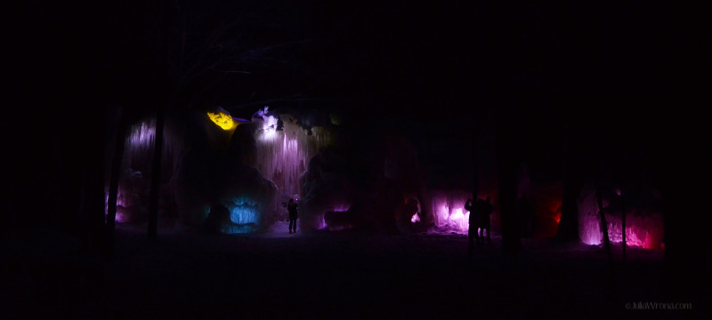 Ice Castle at Night with Multi colored lights