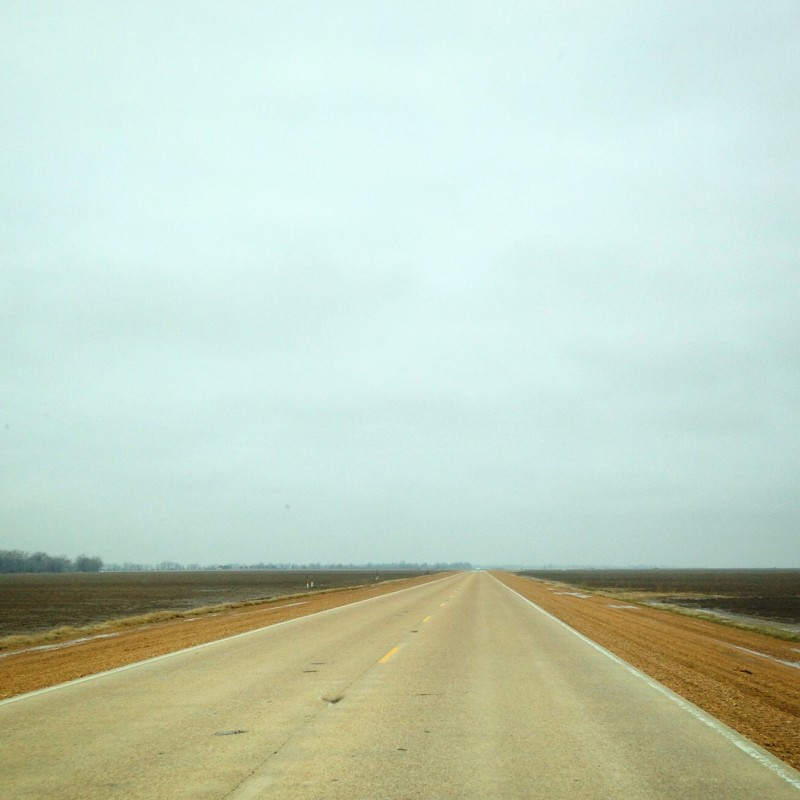 Empty road through the Delta.