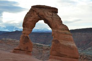 Mountains through Delicate Arch