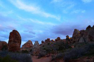 Hiking at Sunset in Arches