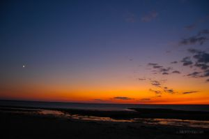 Sunset Moonrise Cape Cod Bay